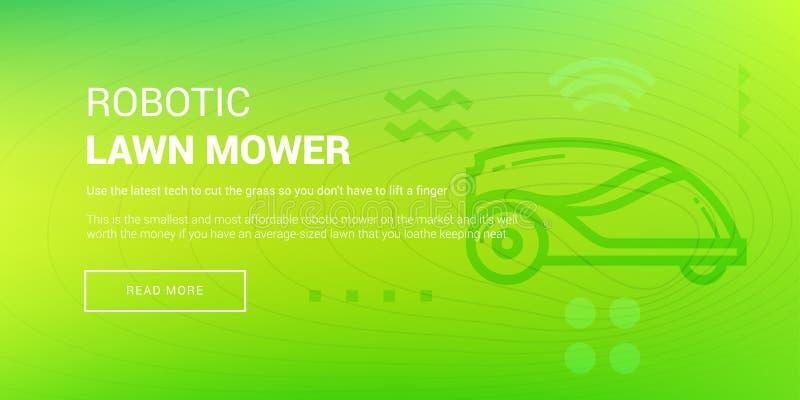 Hi-tech Robotic Lawn Mower. Vector illustration of banner with hi-tech robotic lawn mower icon on green background vector illustration