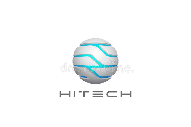 Technology Sphere Circle Logo abstract design vect stock illustration
