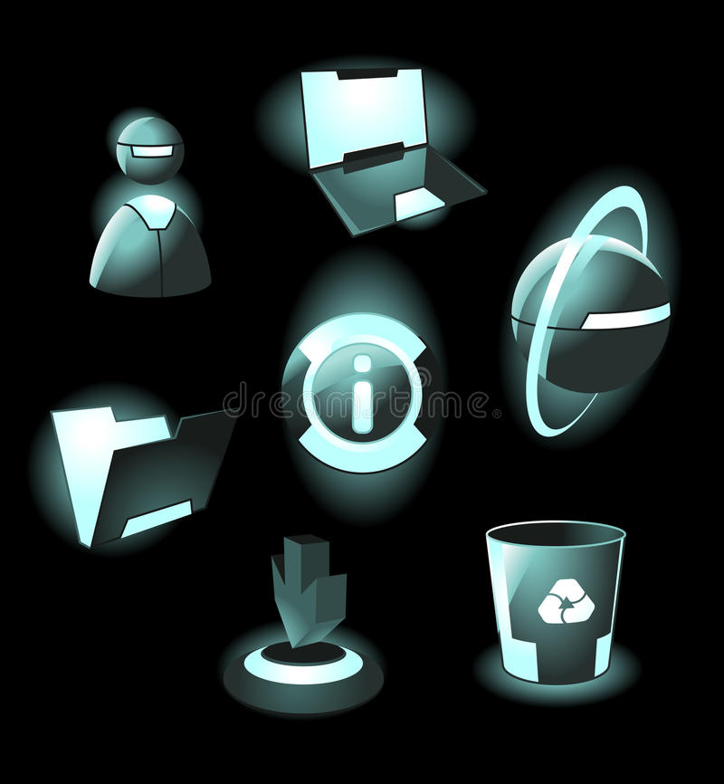 Hi-tech space icons royalty free illustration