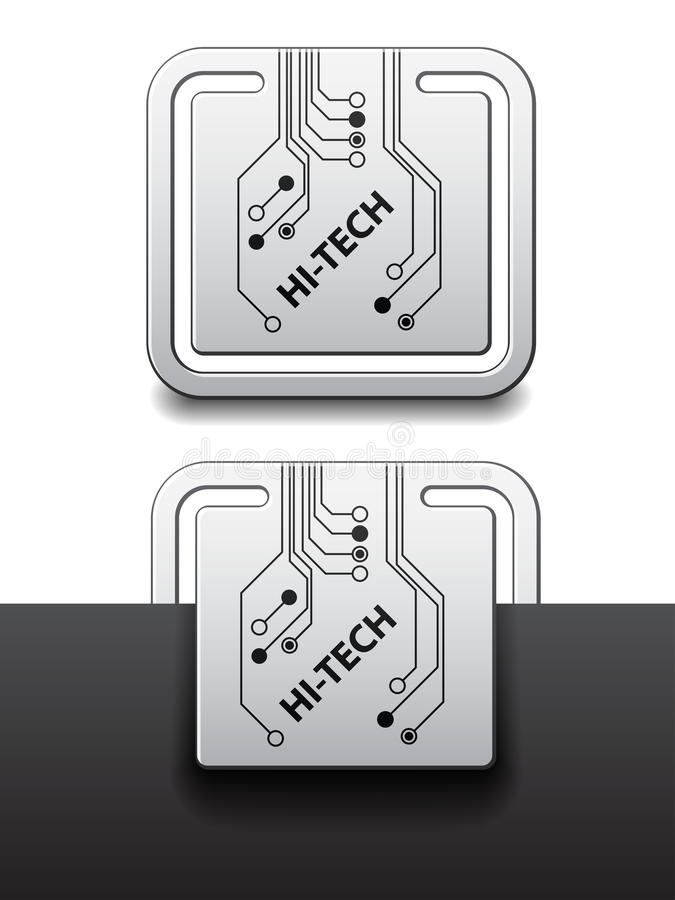 Hi-tech square circuit board attached labels. See also my gallery vector illustration