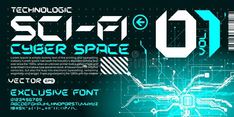 hi-tech van de de doopvonttrance van Techno de stijl van letters voorziende kringen royalty-vrije illustratie