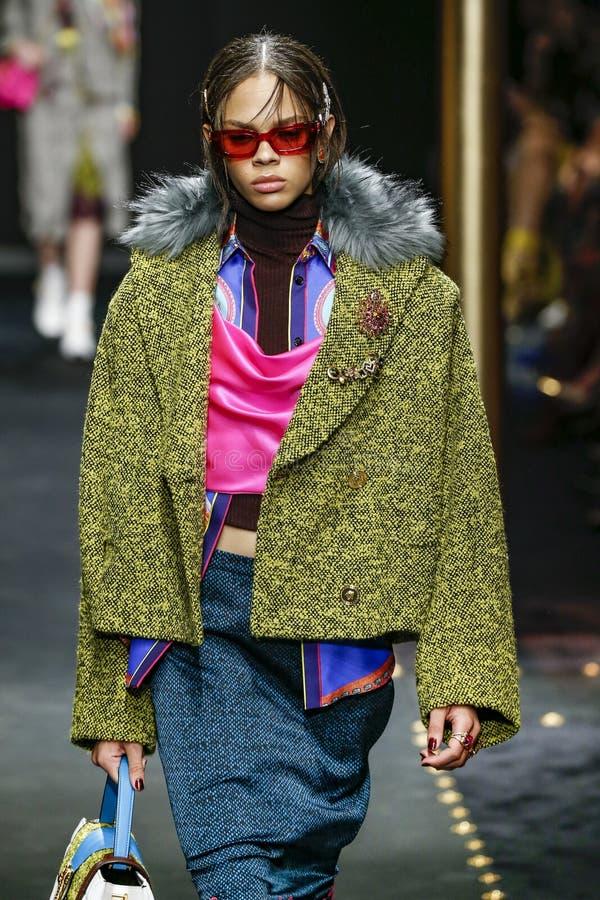Free Hiandra Martinez Walks The Runway At The Versace Show At Milan Fashion Week Autumn/Winter 2019/20 Stock Image - 143966081