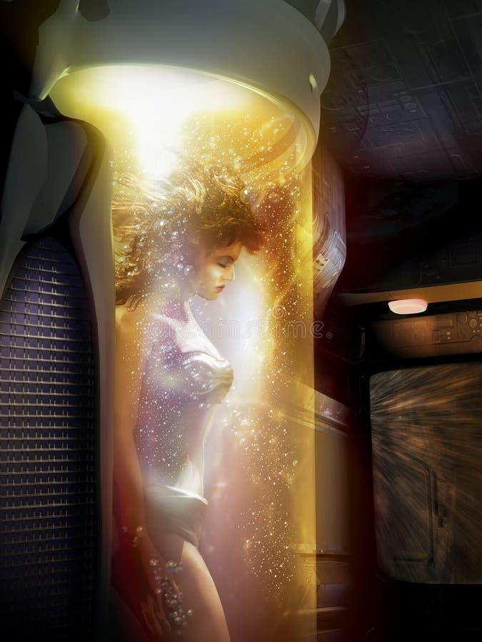 Hibernacja wśrodku statku kosmicznego royalty ilustracja