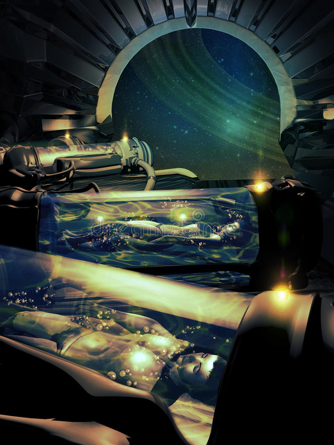Hibernation. Inside a spaceship room, four men and women, hibernating into futuristic machines during their travel through space vector illustration