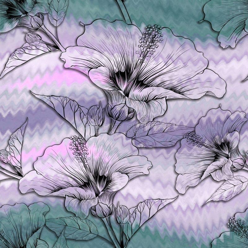 Hibisco - flores y brotes Modelo inconsútil del fondo Plantas del perfume y del cosmético wallpaper Composición decorativa Prin d ilustración del vector