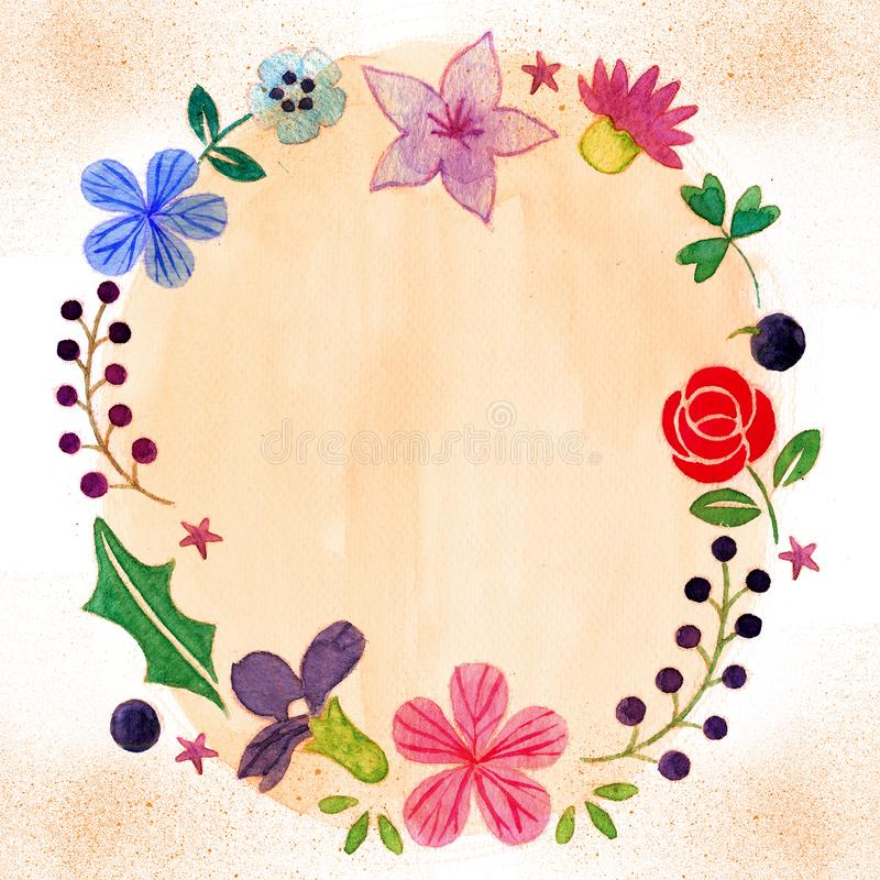 Hibisco, lirio y Rose Romantic Flower Frame stock de ilustración