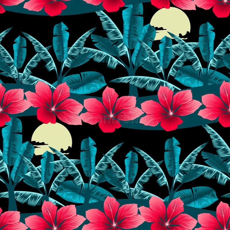 Hibisco y palmera tropicales en el modelo inconsútil de la noche stock de ilustración