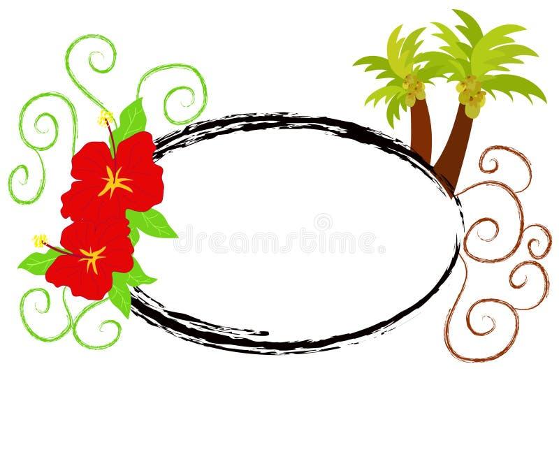 Hibisco y palmeras stock de ilustración