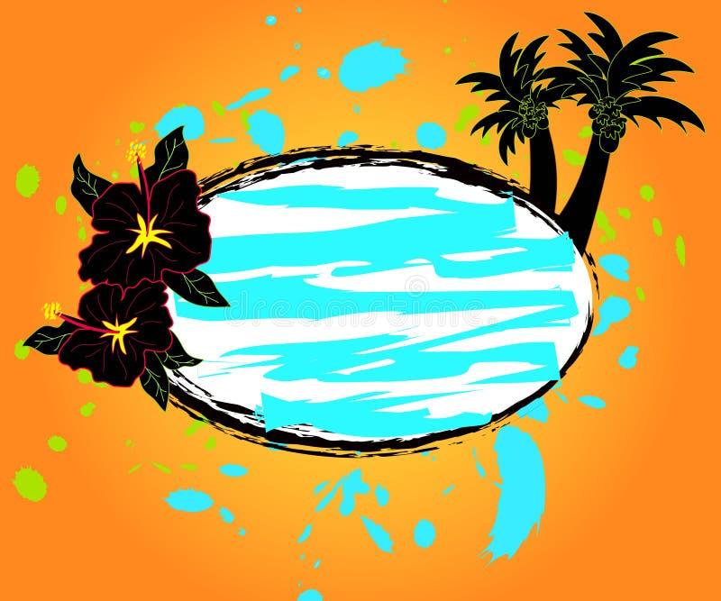Hibisco y palmeras libre illustration