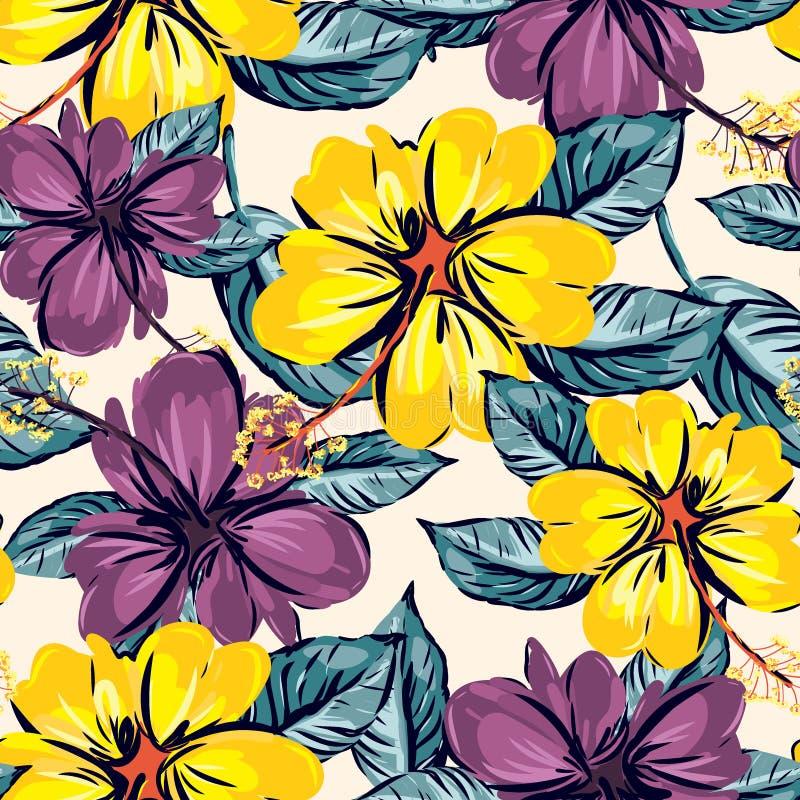 Hibiscus και τροπικό υπόβαθρο σχεδίων φύλλων άνευ ραφής ελεύθερη απεικόνιση δικαιώματος