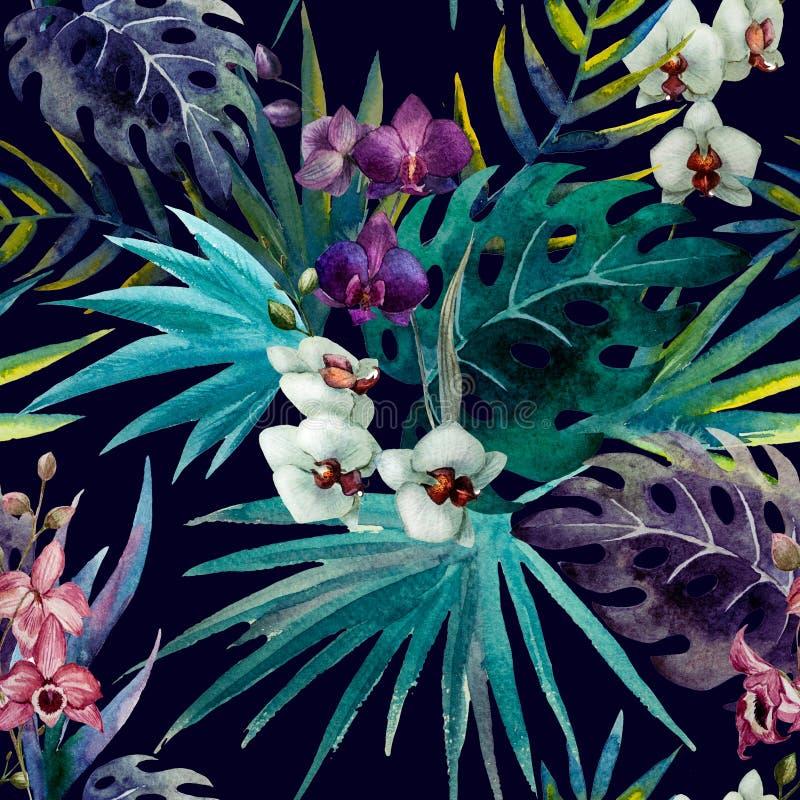 Hibiscus ορχιδεών σχεδίων τροπικοί κύκλοι watercolor φύλλων διανυσματική απεικόνιση