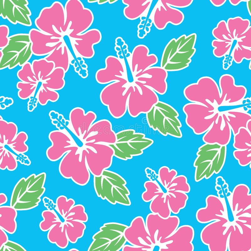 hibiscus πρότυπο άνευ ραφής ελεύθερη απεικόνιση δικαιώματος