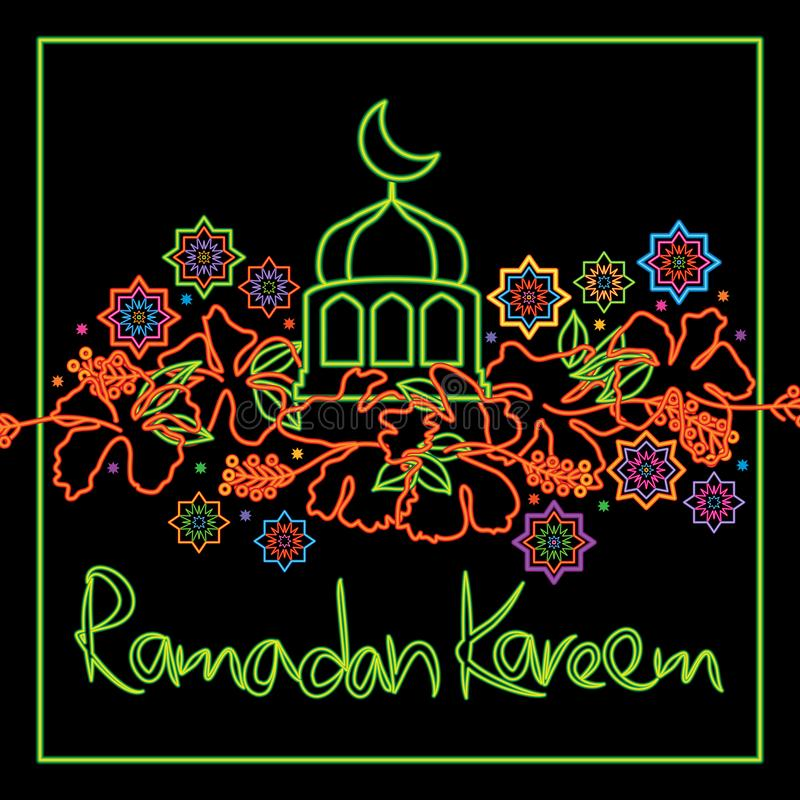 Hibiscus της Μαλαισίας κάρτα πλαισίων Ramadan Kareem απεικόνιση αποθεμάτων