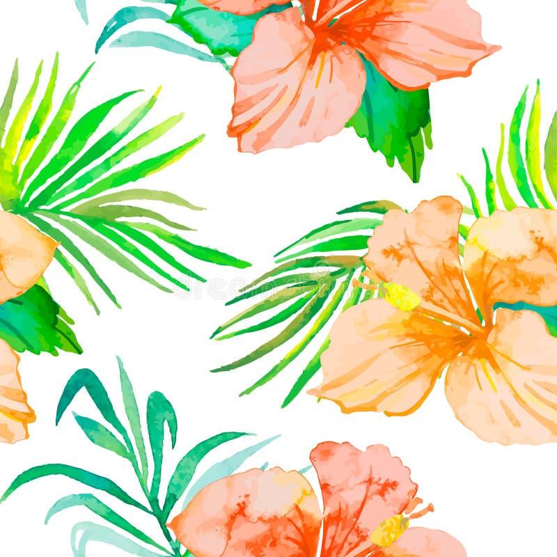 hibiscus Τροπικοί κλάδοι σχεδίων και φοινικών εγκαταστάσεων άνευ ραφής εξωτικό λουλούδι διάνυσμα watercolor φύλλωμα ελεύθερη απεικόνιση δικαιώματος
