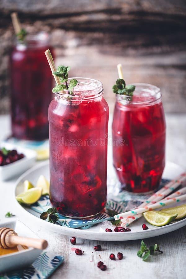 Hibiscus τσάι πάγου με τον ασβέστη, lemongrass, το πράσινα τσάι και το μέλι στοκ φωτογραφίες
