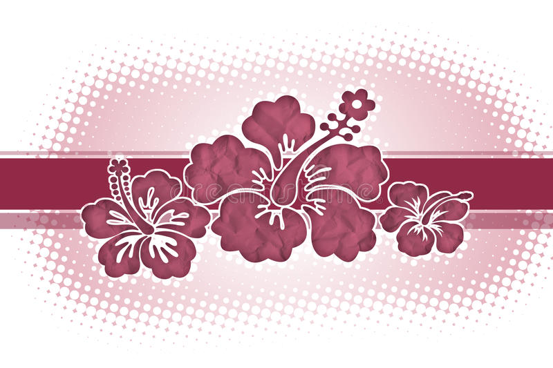 Hibiscus. Decorative background with pink hibiscus flowers royalty free illustration
