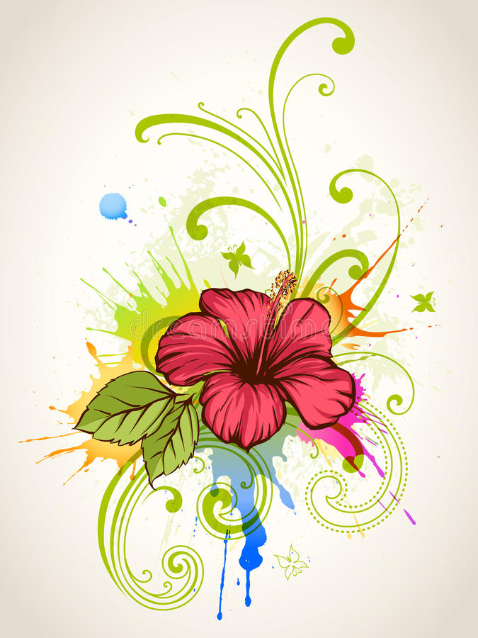 Hibiscus. Summer floral background. Hibiscus flower, colorful splashes and butterflies stock illustration