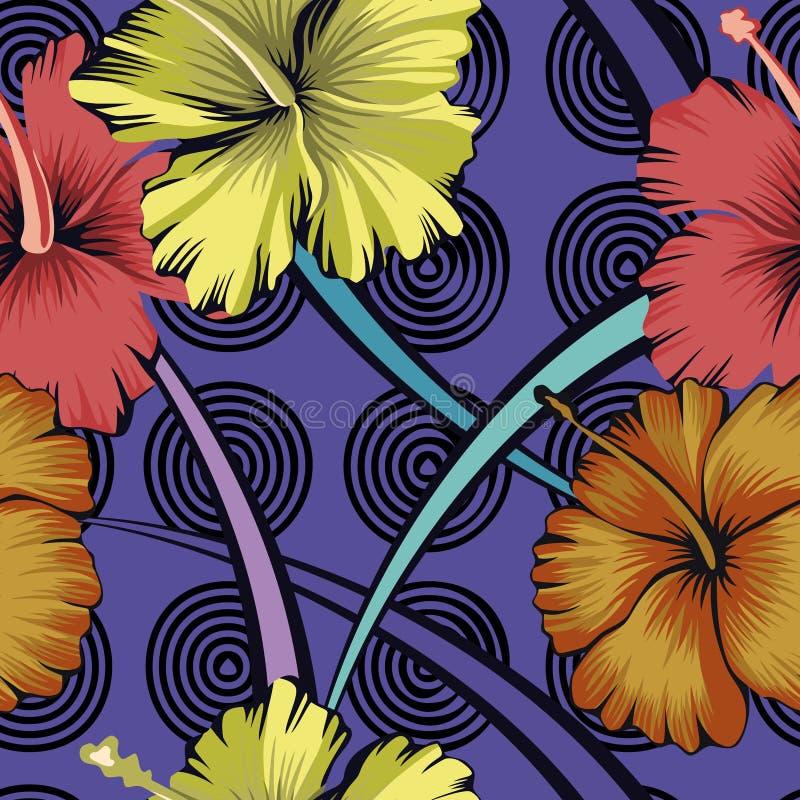 Hibiscus abstrato do fundo das flores sem emenda ilustração stock