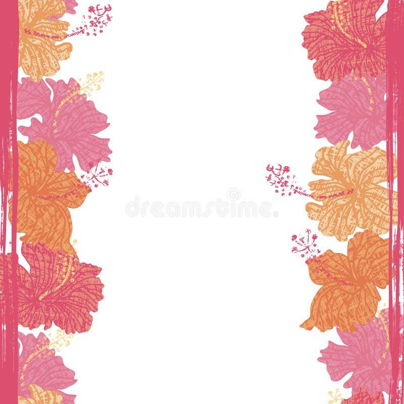 Hibiscus blüht nahtlose Grenze lizenzfreie abbildung