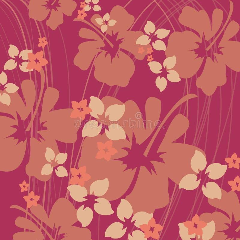 Hibiscus cor-de-rosa e alaranjado ilustração stock