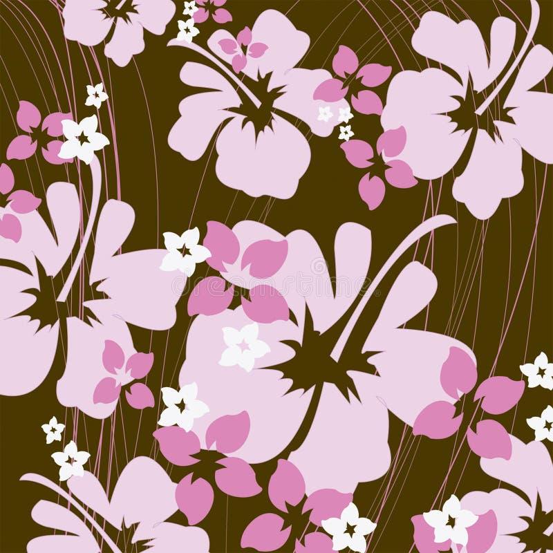 Hibiscus cor-de-rosa e marrom ilustração royalty free