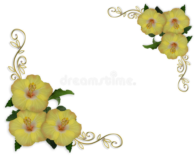 Hibiscus corner design elegant Border royalty free illustration