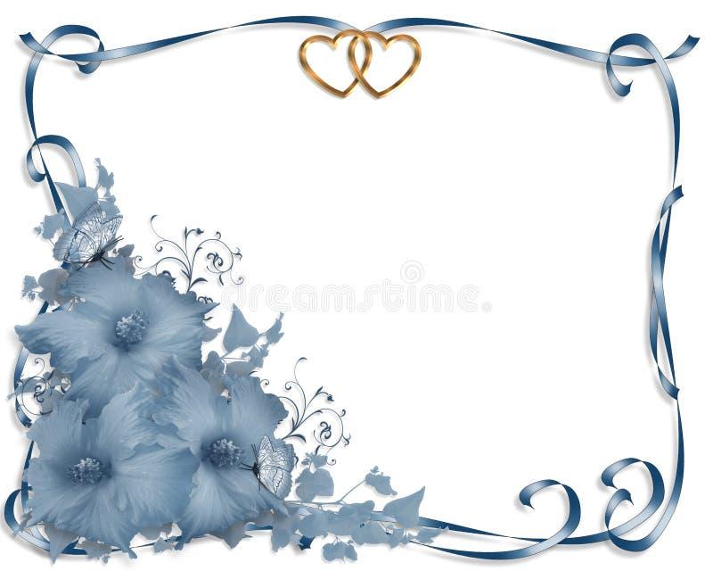 Hibiscus do azul da beira do convite do casamento ilustração royalty free