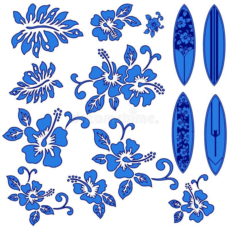 Hibiscus en een surfplank royalty-vrije illustratie