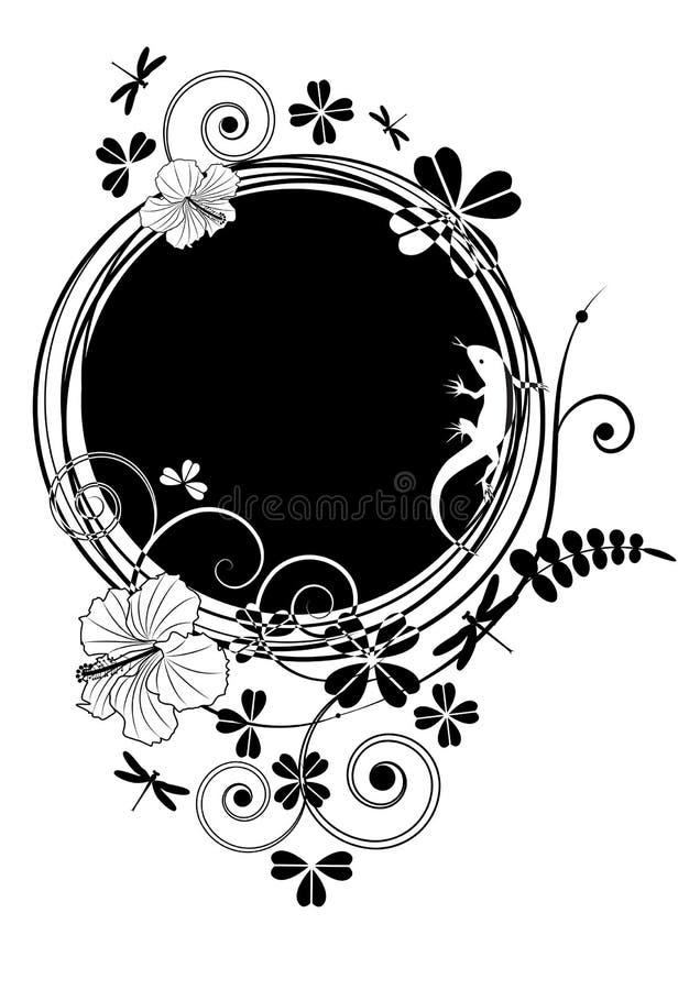 Hibiscus en hagedis stock illustratie