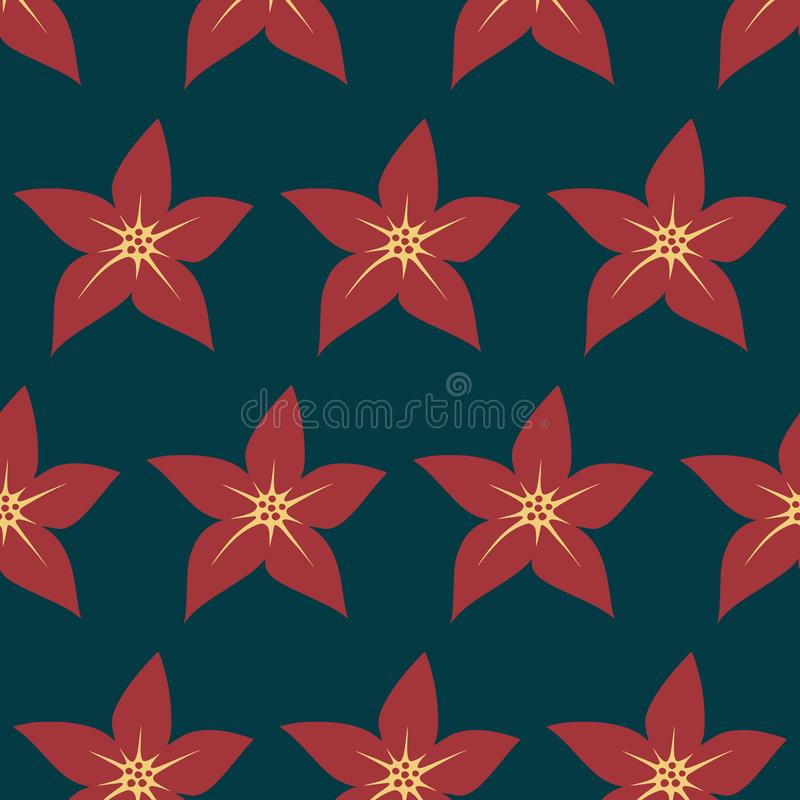 Hibiscus floral seamless pattern on blue background vector vector illustration