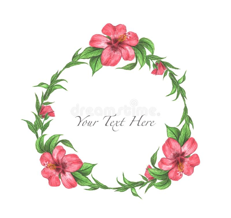 Hibiscus flower and leaves frame. stock illustration
