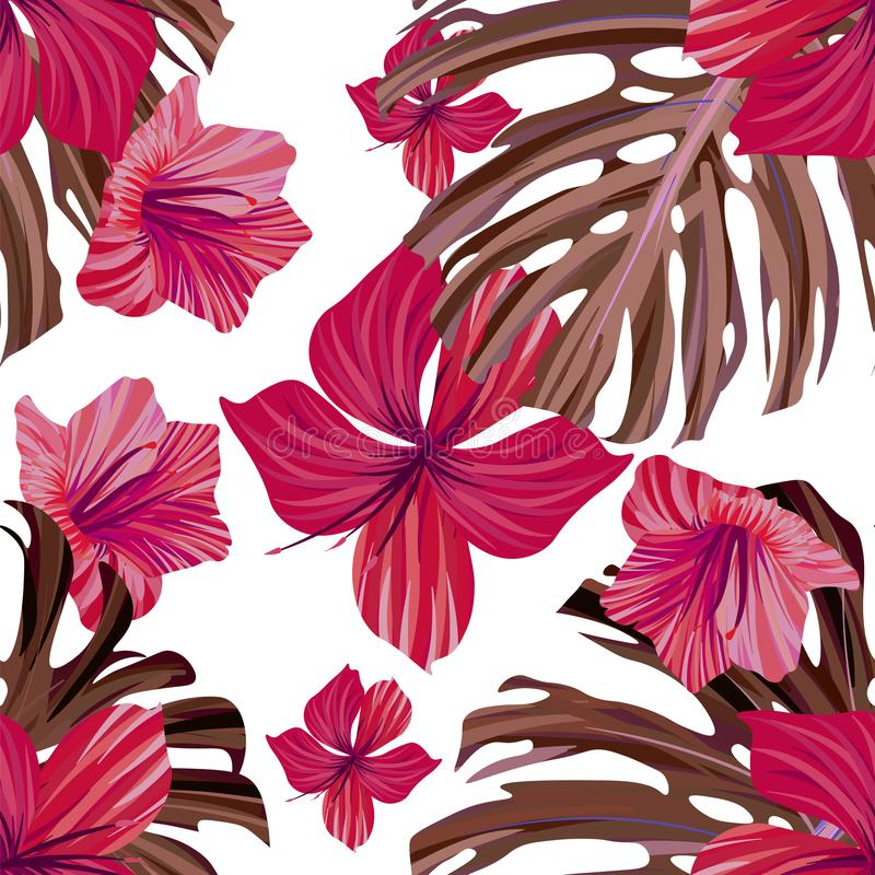 Hibiscus flower. Seamless tropic pattern. Palm background royalty free illustration