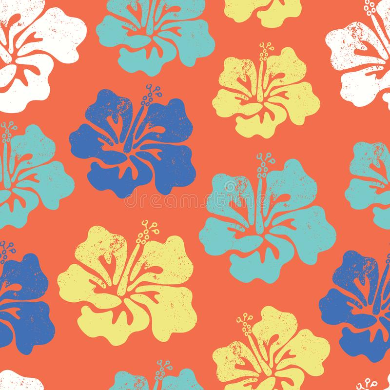 Hibiscus flower seamless vector pattern. Aloha Hawaiian Shirt Seamless Background Pattern. Blue orange teal white tropical floral royalty free illustration