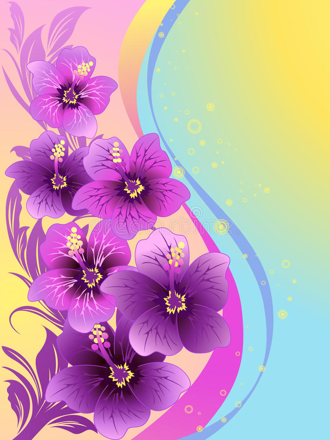 Hibiscus flowers. Tropical waves, illustration royalty free illustration