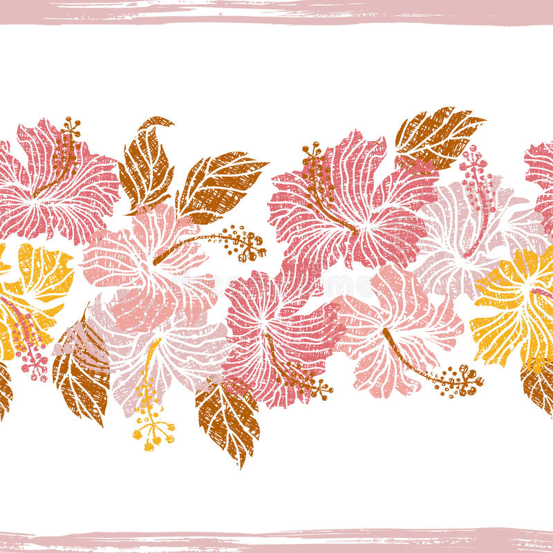 Hibiscus flowers endless border vector illustration