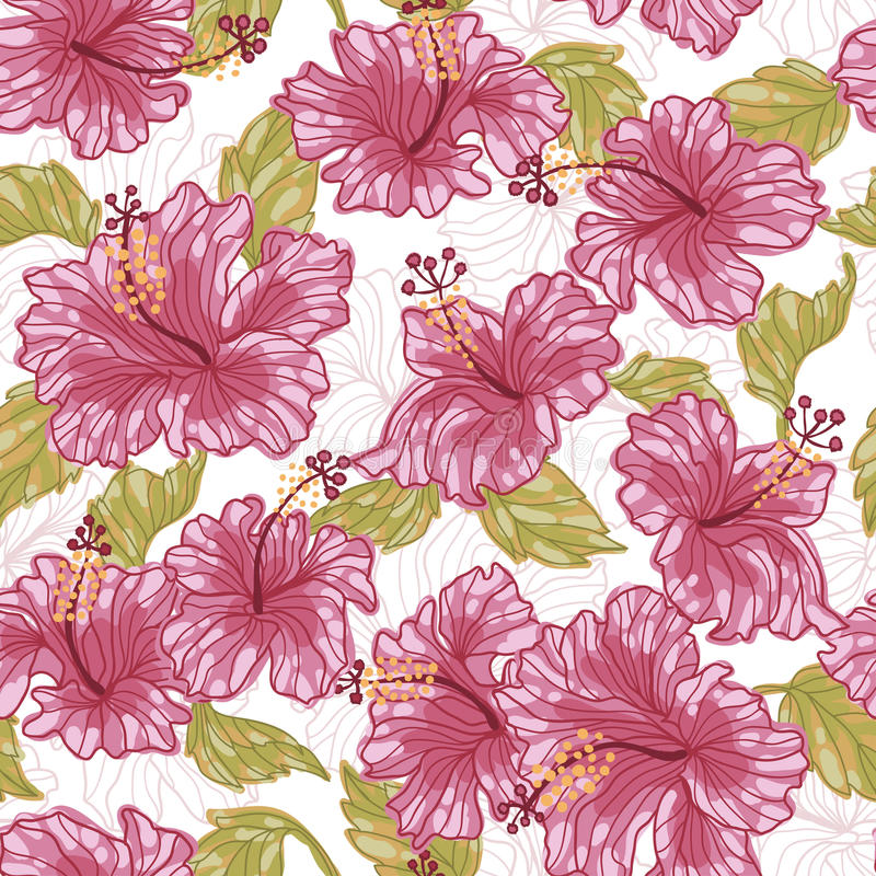 Hibiscus flowers fresh seamless pattern stock illustration