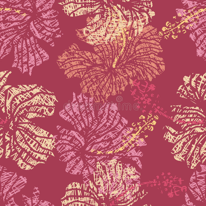 Hibiscus flowers lace seamless pattern stock illustration
