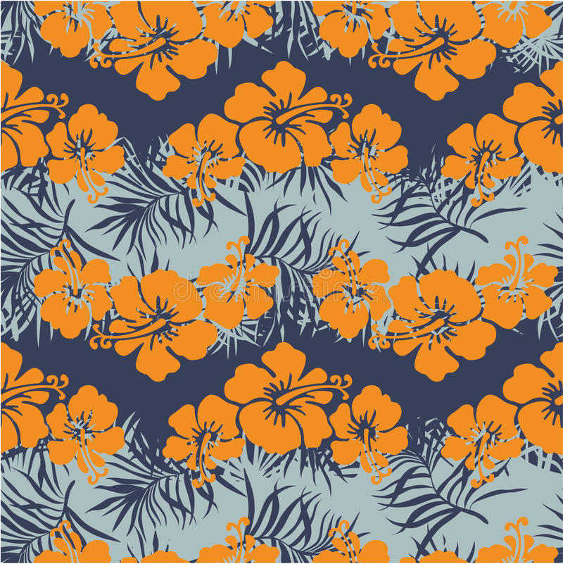 Hibiscus flowers seamless pattern royalty free illustration