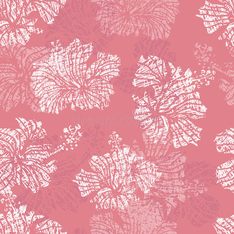 Hibiscus flowers tender seamless pattern royalty free illustration