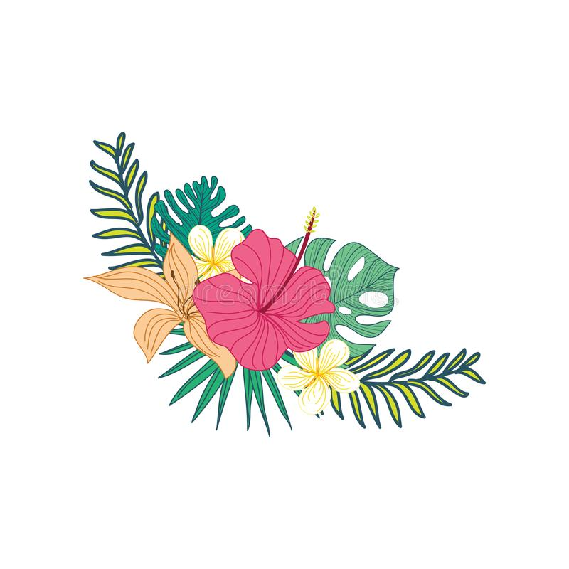 Hibiscus Hand Drawn Tropical Flower Composite Design. Hibiscus Hand Drawn Tropical Flower Composite Vector Symbol Graphic Design royalty free illustration