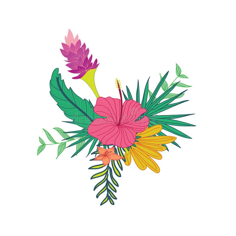 Hibiscus Lavender Hand Drawn Tropical Flower Composite Design. Hibiscus Lavender Hand Drawn Tropical Flower Composite Vector Symbol Graphic Design vector illustration