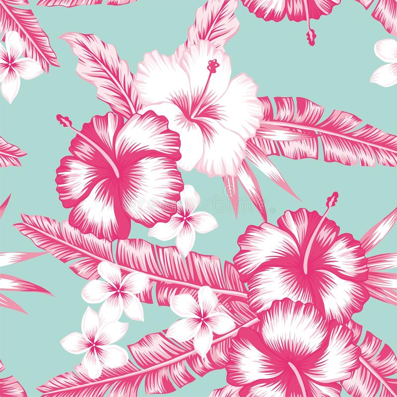 Hibiscus and leaves. Composition of tropical flower hibiscus, frangipani and leaves seamless vector pattern in trendy pink style on blue background stock illustration