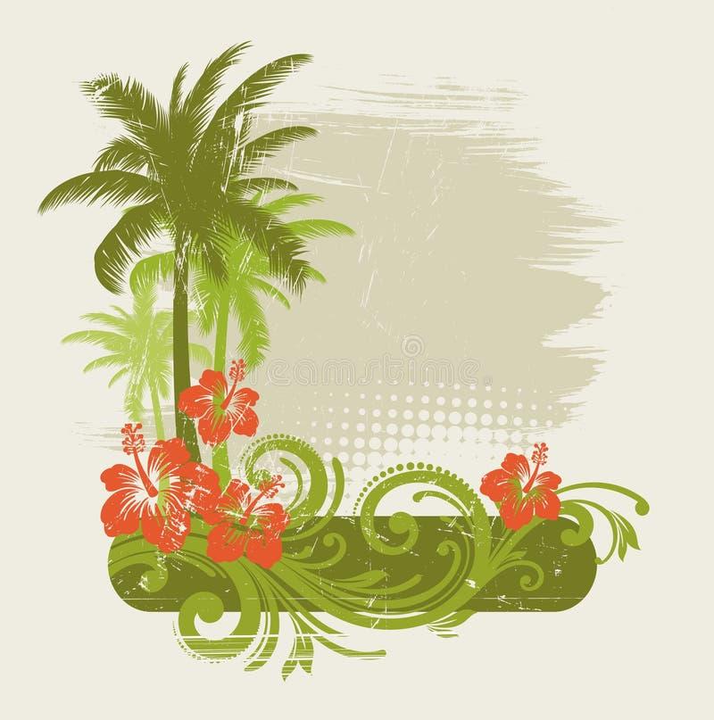 Hibiscus met ornament en palmen