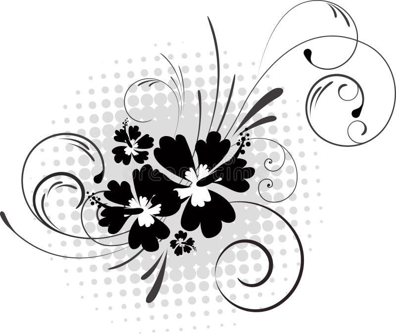 Hibiscus mit Strudeln auf Halbtonhintergrund lizenzfreie abbildung