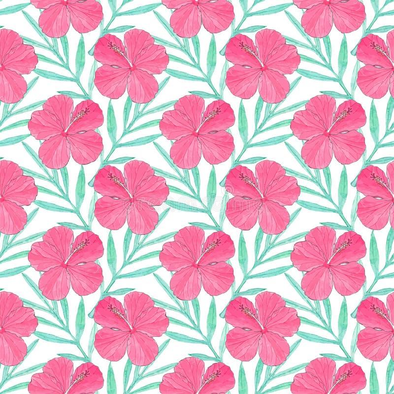 hibiscus Naadloos patroon met bloemen en palmbladen Hand-drawn achtergrond Vector illustratie stock illustratie