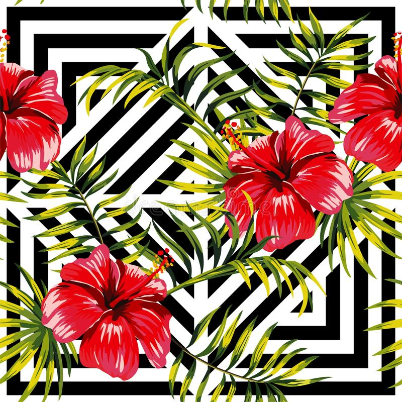 hibiscus and palm leaves painting tropical floral pattern, geometric background royalty free illustration