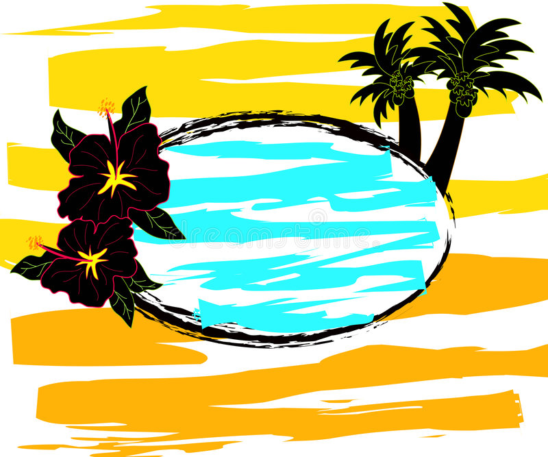 Download Hibiscus and palm trees stock illustration. Illustration of seasonal - 2573689