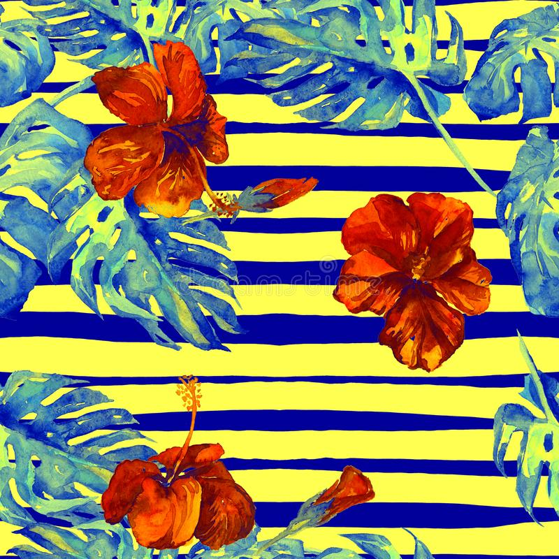 Summer Beach Background. Watercolor Seamless Pattern. Hand Painted Tropic Summer Motif with Monstera and Hibiscus vector illustration