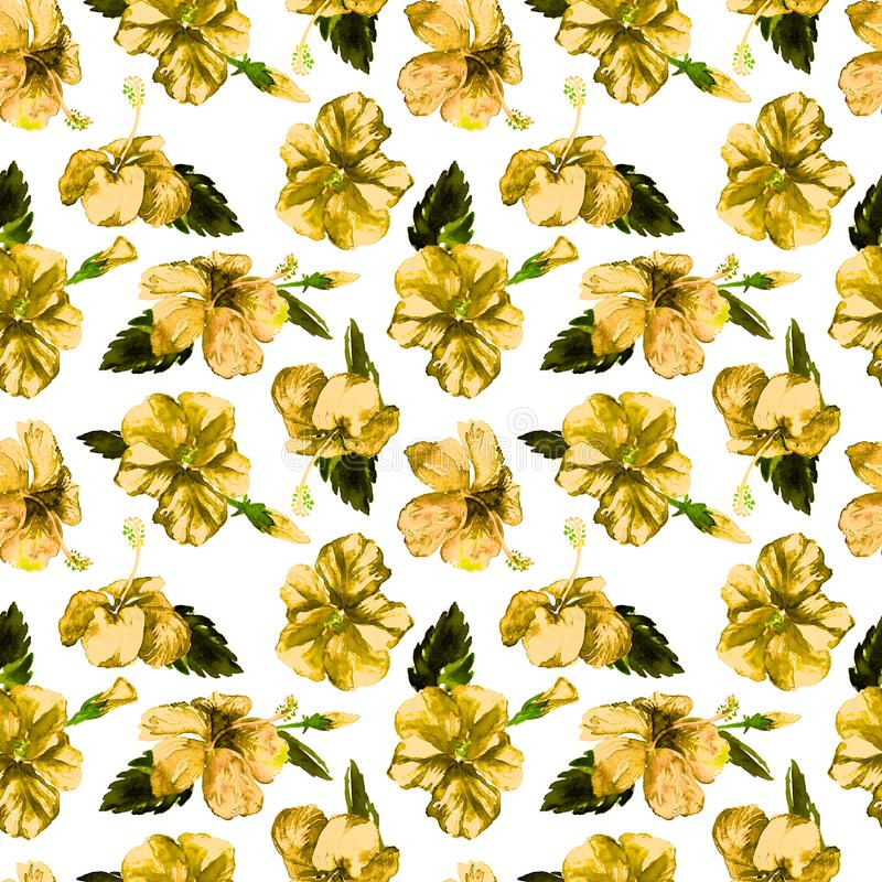 Watercolor Seamless Pattern. Hand Painted Illustration of Tropical Leaves and Flowers. Tropic Summer Motif with Hibiscus Pattern. Hibiscus Pattern. Watercolor royalty free stock photography