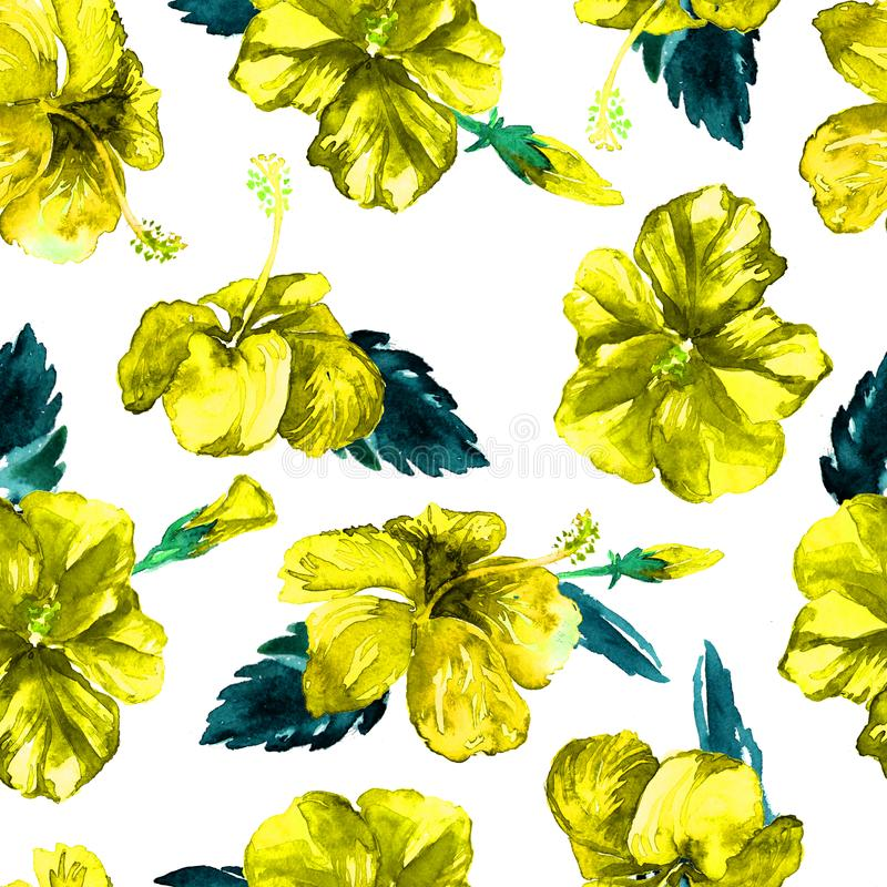 Watercolor Seamless Pattern. Hand Painted Illustration of Tropical Leaves and Flowers. Tropic Summer Motif with Hibiscus Pattern. stock illustration